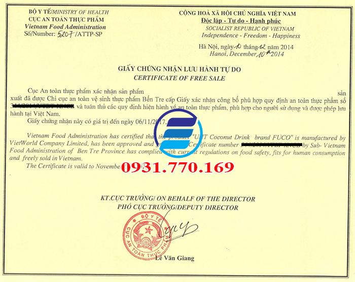 Dịch vụ đăng ký giấy chứng nhận lưu hành tự do CFS
