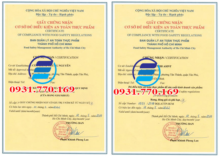 Làm giấy chứng nhận vệ sinh an toàn thực phẩm giá rẻ